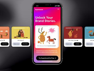 Superbrand The StoryMaker for iPhone hci product uiux ux ui video app illustraion tinderforshopping tinder statusbar dynamic effect cta cards ui shopping app shopper productdesign iphone ios ios app design