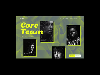 Team Page - Trippy  / Normal colourful dynamic angular veu.js website uiweb design insane normal psychedic trippy about our folks our team fuck yeah cool website modern website studio website core team about us teams