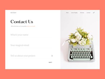 Contact Us - Explorations rich elegant clean uiux email contact form feedback form serif font contact us page web page say hello agency website studio website web design contact page contact us