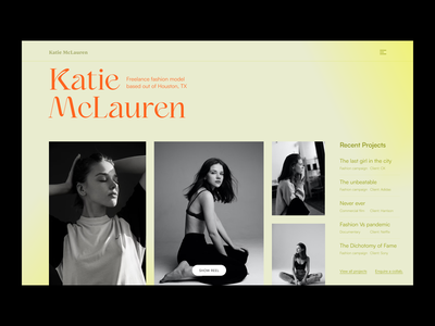 Katie McLauren-Fashion Model Portfolio projects model shoot clean photos portfolio website website fashion model