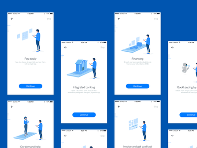 Payment App Onboarding Illustration blue sketch sanal receipts easy pay financing payment app illustrations onboading debit credit payment invoice on demand assistance cashflow integrated banking book keeping banking