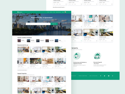 Uproperty Homepage property search design landing page websites uiux australia buy sell property developer realestate
