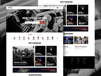 BoxerKing-Landing Page sanal experience design rwd responsive website design responsive layout uiux boxing day games players matches boxing news news schedule charts results website interactive map interaction fighter fight boxing