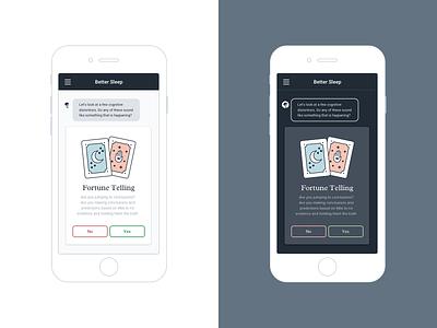 Better Sleep Mobile App Light & Dark Modes mobile chat-bot bot ux research designlab dark-mode ui design cards fortune teller dark mode