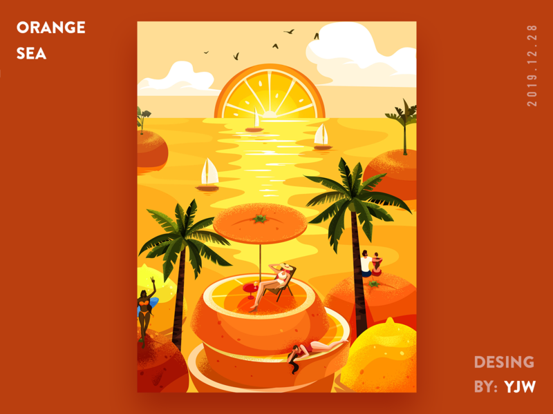orange sea illustration flat illustration