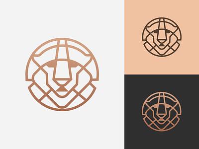 Bronze Lion Logo gradient dark light coin bronze leo head lion logo