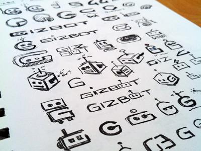 Gizbot Sketches concept ink logo identity branding icon sketches robot black technology g box rick landon rick landon rick landon design