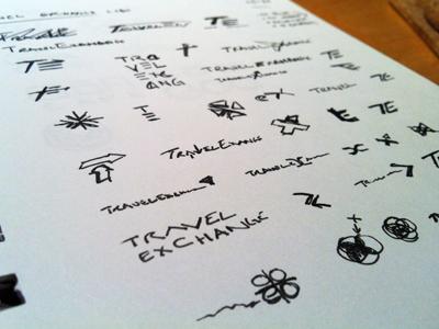 TravelExchange Sketches concept ink logo identity branding icon sketches travel x t arrow rick landon rick landon rick landon design