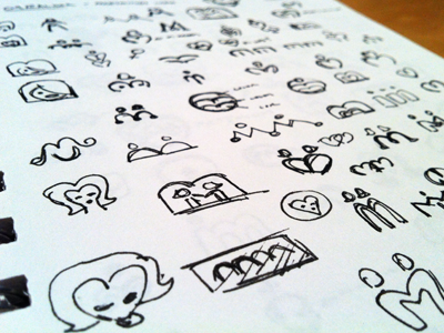 MeetMindy Sketches 2 concept ink logo identity branding icon sketches heart dating m face love woman women rick landon rick landon rick landon design