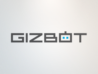 Gizbot Logo logo wordmark typography clean modern type robot bot gray grey blue futuristic rick landon rick landon rick landon design