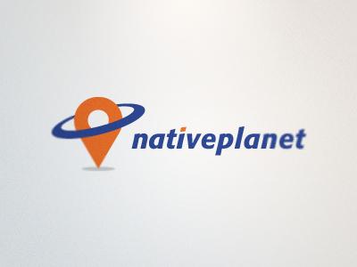 NativePlanet Logo logo orange blue map marker planet orbit ring icon rick landon rick landon rick landon design