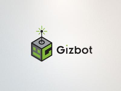 Gizbot Logo 2 logo robot g box green bot antenna technology vector rick landon rick landon rick landon design