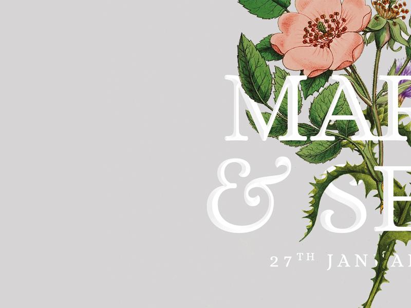 Maria Sean Wedding Invite 4 united kingdom scottish scotland typography graphic design design graphic flowers invite print wedding