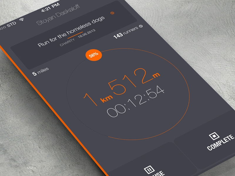 iOS7 running... ios7 run app simple orange gray flat