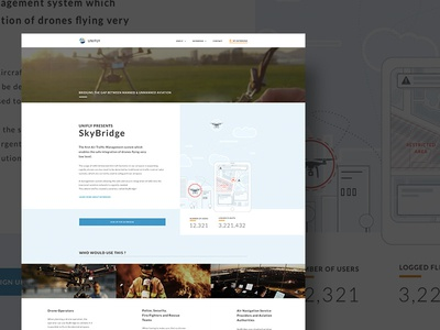 Homepage Layout parallax landing ui flat illustration fly drone unifly