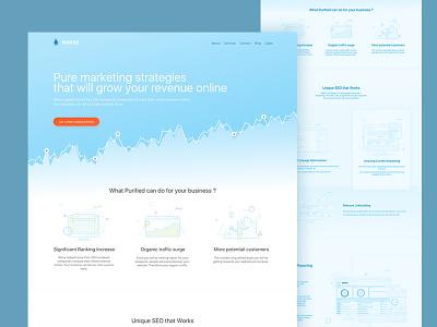 Purified Marketing   Landing WIP blue almost flat chart hero illustration landing page marketing