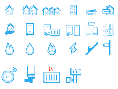 Boiler Guide Icon Set vector icon illustration