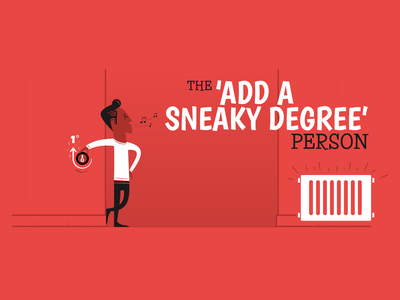 The 'Add a Sneaky Degree' Person design vintage fun characer retro social campaign illustration vector