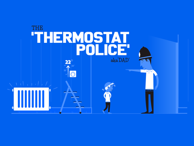 The 'Thermostat Police' (aka Dad) vintage vector social campaign retro illustration fun design character
