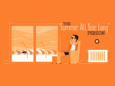 The 'Summer All Year Long' Person vintage vector social campaign retro illustration fun design character