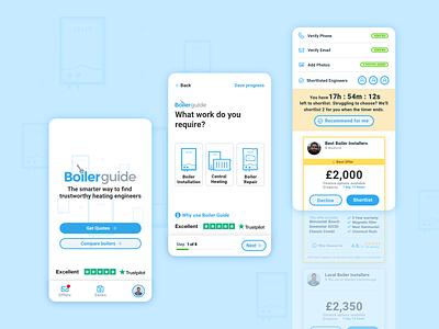 Boiler Guide Compare & Quote App design app design ux ui illustration uidesign boilers ux ui design mobile app design mobile app
