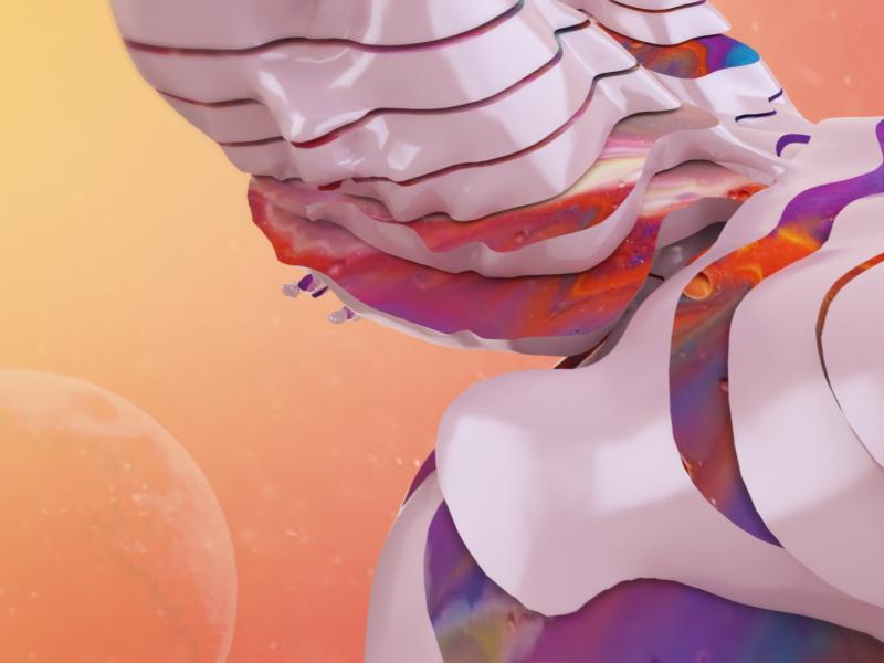 The Moon gradient tarot slice figure female redshift c4d moon 3d
