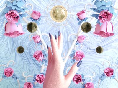 """""""Five of Cups """" tarot pink pastel octane major cgi c4d arcana 3d"""