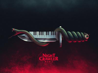 Nightcrawler Illustration dj music nightcrawler eye knife snake 80s retro synth synthetizer terror horror