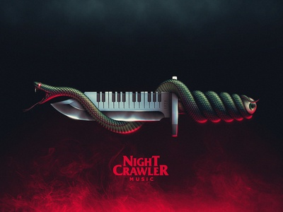 Nightcrawler Illustration dj music nightcrawler eye knife snake 80s retro synth synthetizer terror horror