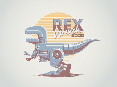 Rex Wrench 2000 mechanic future vector metal wrench retro 80s machine robot chrome dinosaur t rex