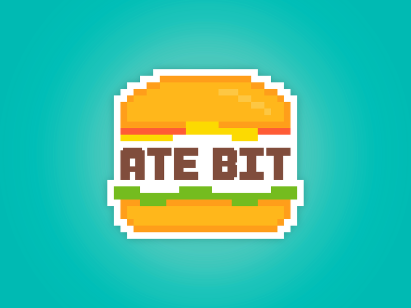 Ate Bit burger typography food video games 8-bit logo design branding