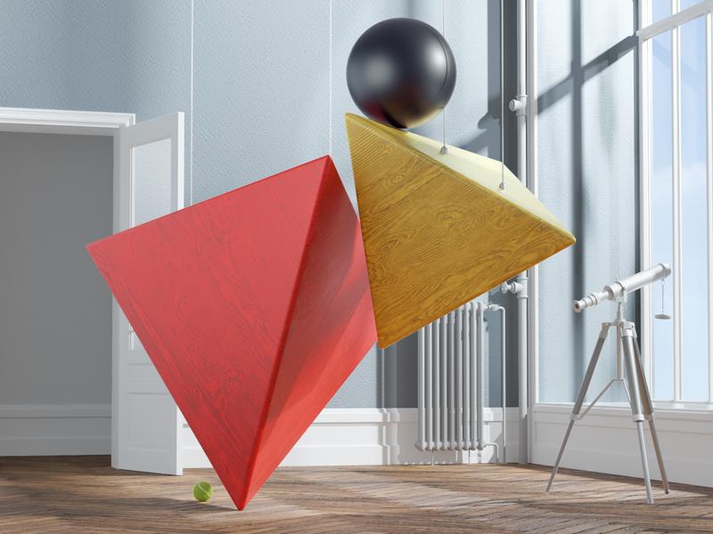 Floating shapes illustration octane cinema4d cgi render 3d