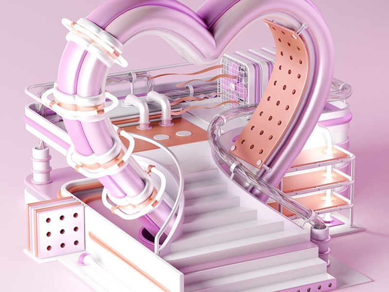 Play with me [2/4] cgi 3d heart card scene render vray cinema4d