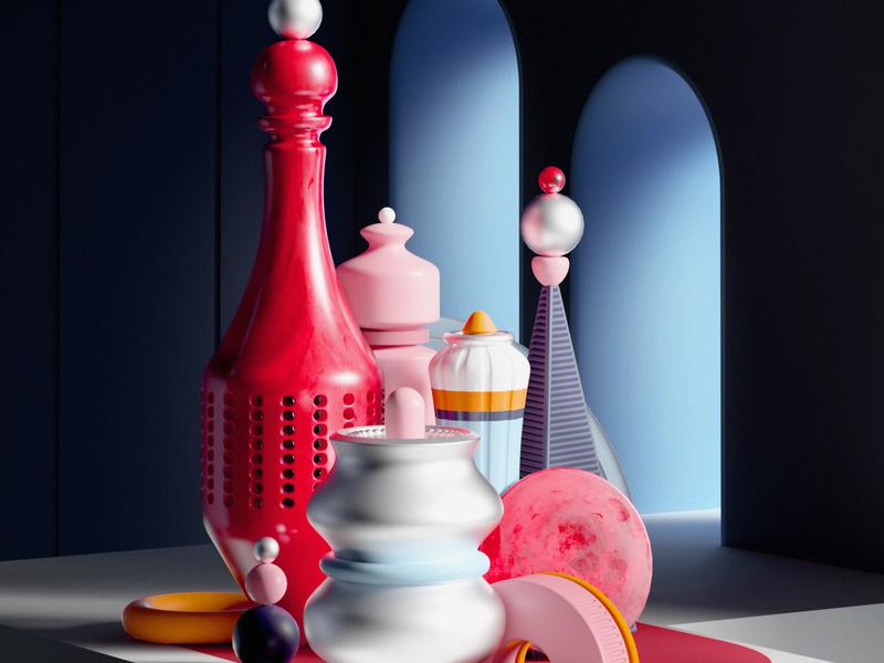 Summer 2018 shapes cinema4d octane design render set cgi art 3d illustation
