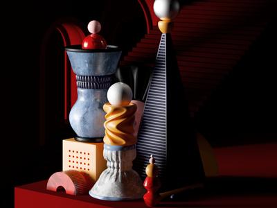 Summer 2018 minimal abstract illustration shapes octane design set cinema4d render cgi 3d