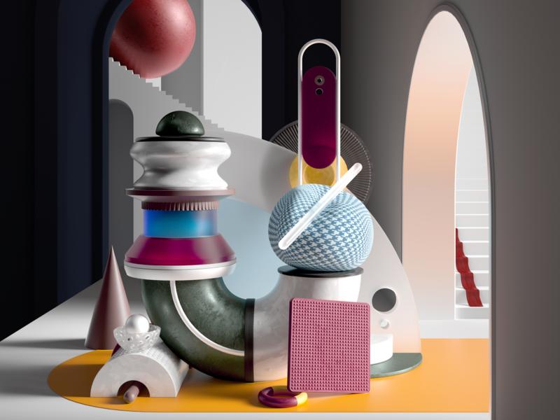 Summer 2018 colours set shapes minimal illustration scene design cgi cinema4d render 3d