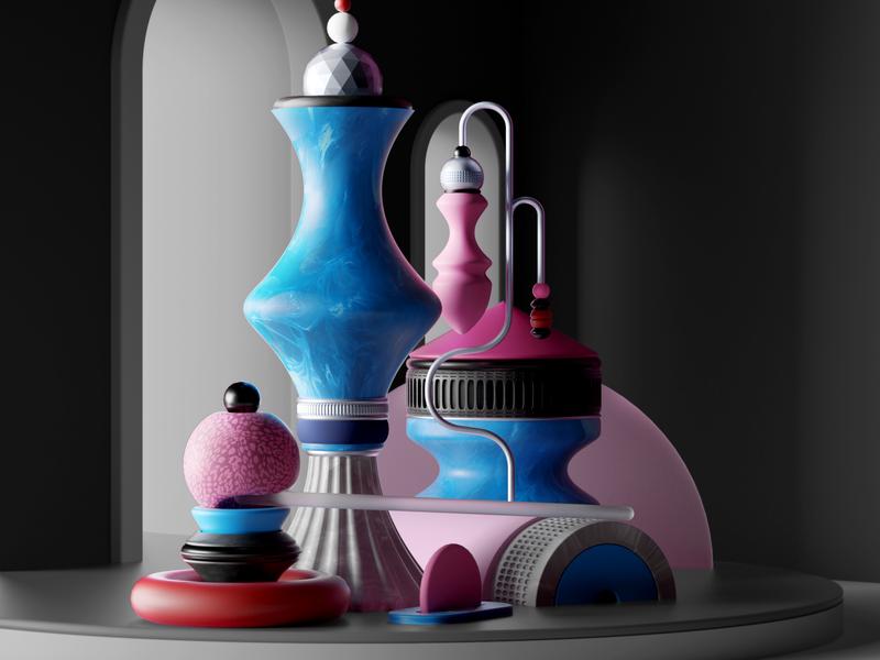 Summer 2018 colours minimal illustration shapes octane design cinema4d cgi render 3d
