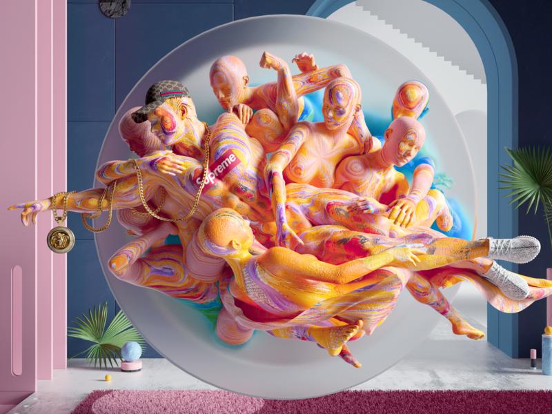 Hype God octane colours design scene cinema4d cgi render 3d illustration