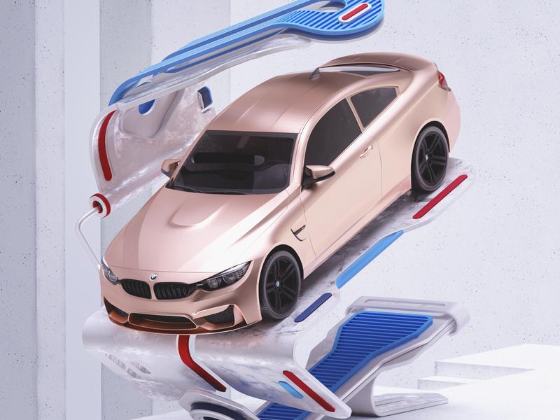 Garage minimal illustration octane cgi cinema4d render 3d
