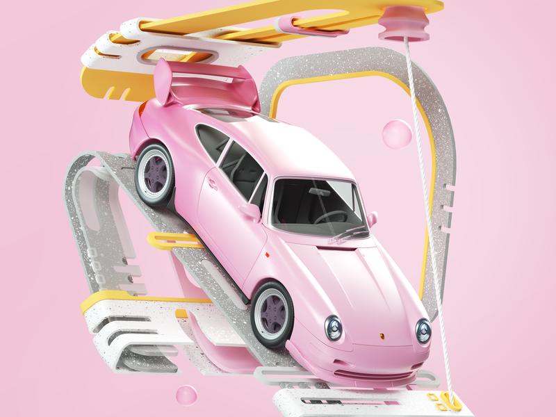 Garage pink simple design shapes octane illustration cinema4d cgi render 3d