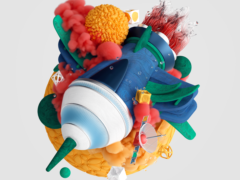 Exploration of Space abstract design shapes colours illustration ux ui set octane cinema4d render cgi 3d