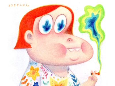 A colorfull smoking. ssebong character girl color pencils.