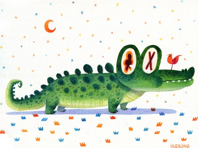 Alligator with a bird.