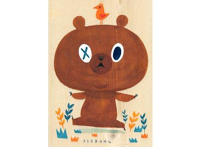 Wood ssebong character bear bird wood