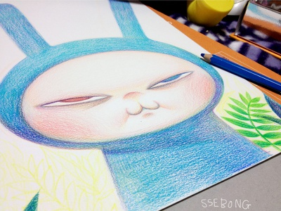 Chic Rabbit ssebong character illustration color pencils