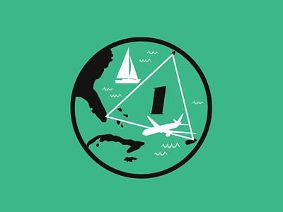 Bermuda Triangle progress badge solved mysteries progress badge highlights team progress sticker badge illustration