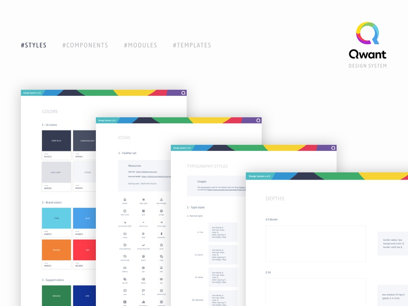 Styles - Qwant design system interface ui design ux design search engine optimization search engine product design design system
