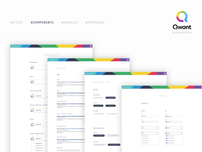 Components - Qwant design system search engine search engine optimization product design ux ui interface design system