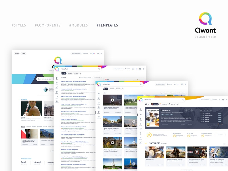 Qwant design system - Templates ui interface ui  ux design ux product design search engine search engine optimization design system