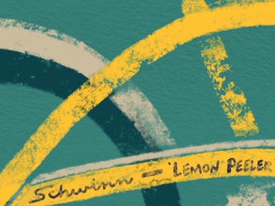 Lemon Peeler Detail vintage bike procreate texture illustration detail